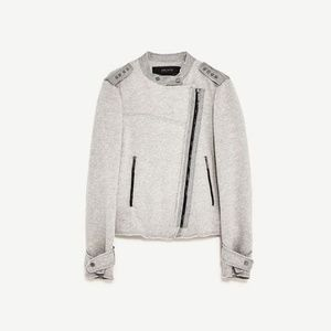 ZARA Gray Jersey Moto Crossover Plush Jacket